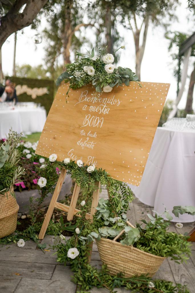 Cartel de bienvenida lettering boda marbella